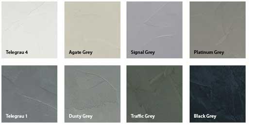 Betonlook / betondesign (in vele kleuren en structuren)